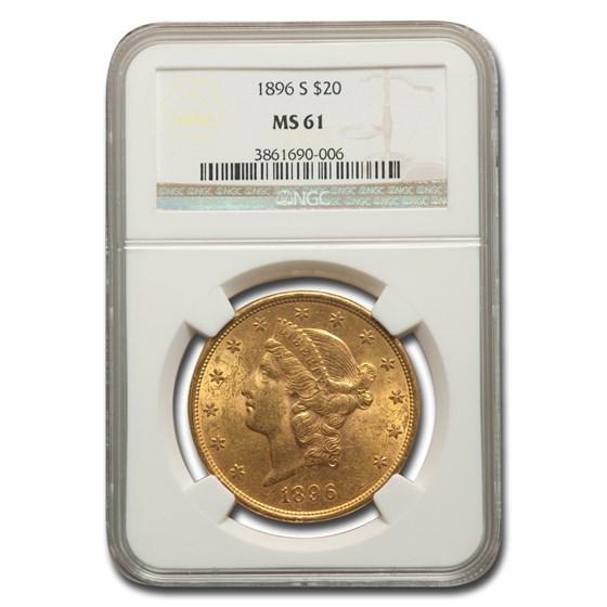 1896-S $20 Liberty Gold Double Eagle MS-61 NGC