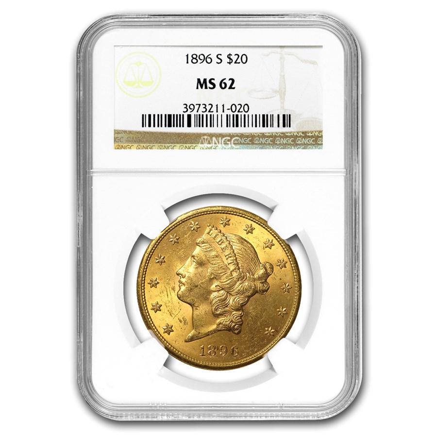 1896-S $20 Liberty Gold Double Eagle MS-62 NGC
