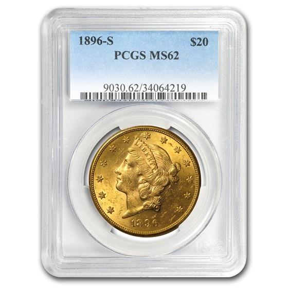1896-S $20 Liberty Gold Double Eagle MS-62 PCGS