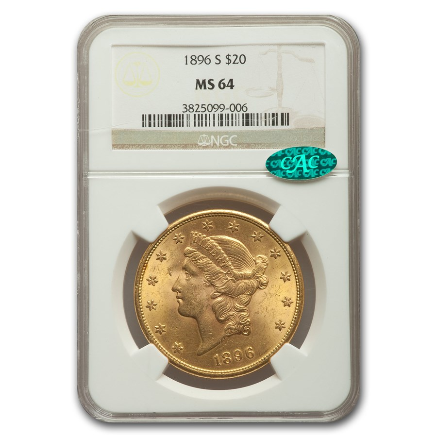 1896-S $20 Liberty Gold Double Eagle MS-64 NGC CAC