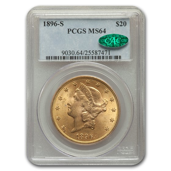 1896-S $20 Liberty Gold Double Eagle MS-64 PCGS CAC