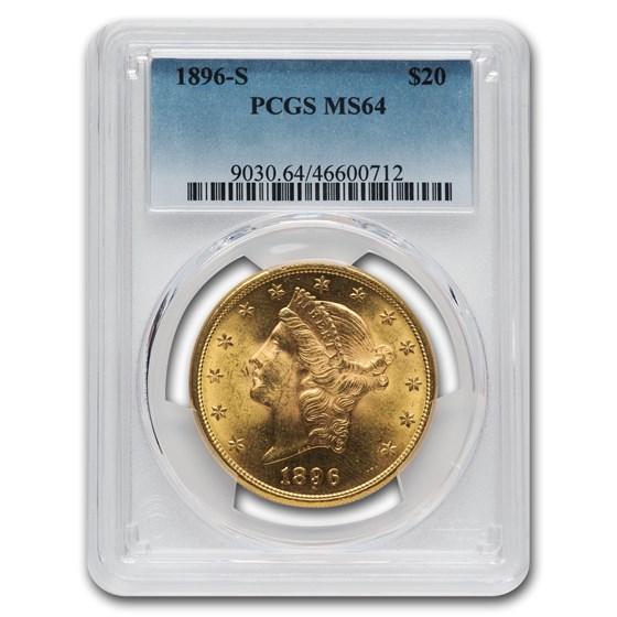 1896-S $20 Liberty Gold Double Eagle MS-64 PCGS