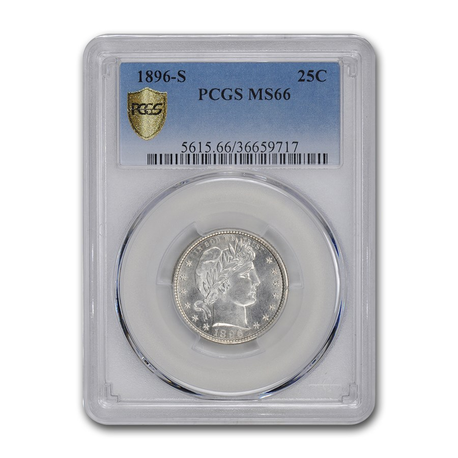1896-S Barber Quarter MS-66 PCGS