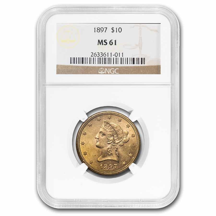 1897 $10 Liberty Gold Eagle MS-61 NGC