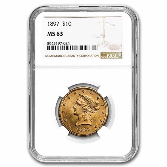 1897 $10 Liberty Gold Eagle MS-63 NGC