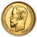 1897-1911 Russia Gold 5 Roubles Nicholas II (BU)