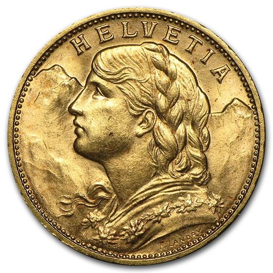 1897-1949 Swiss Gold 20 Francs Helvetia (BU)