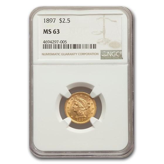 1897 $2.50 Liberty Gold Quarter Eagle MS-63 NGC