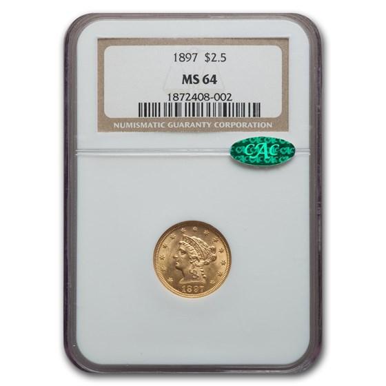 1897 $2.50 Liberty Gold Quarter Eagle MS-64 NGC CAC