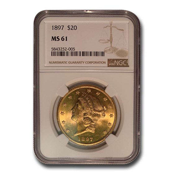 1897 $20 Liberty Gold Double Eagle MS-61 NGC