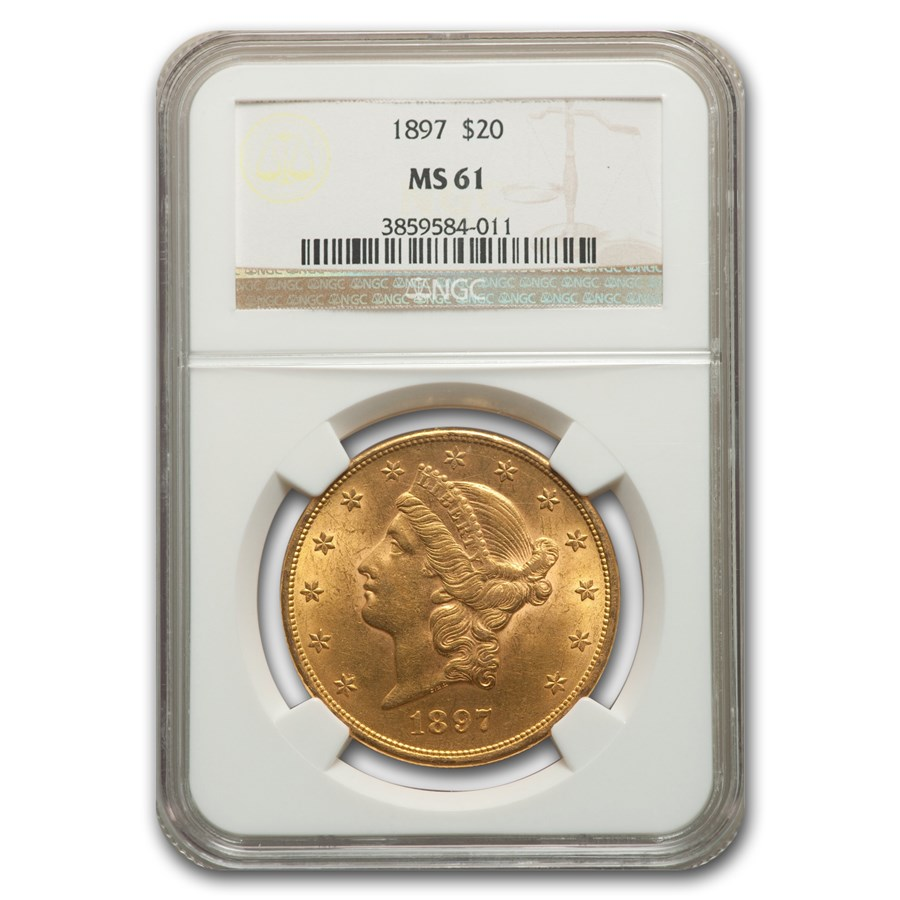 1897 $20 Liberty Gold Double Eagle MS-61 NGC