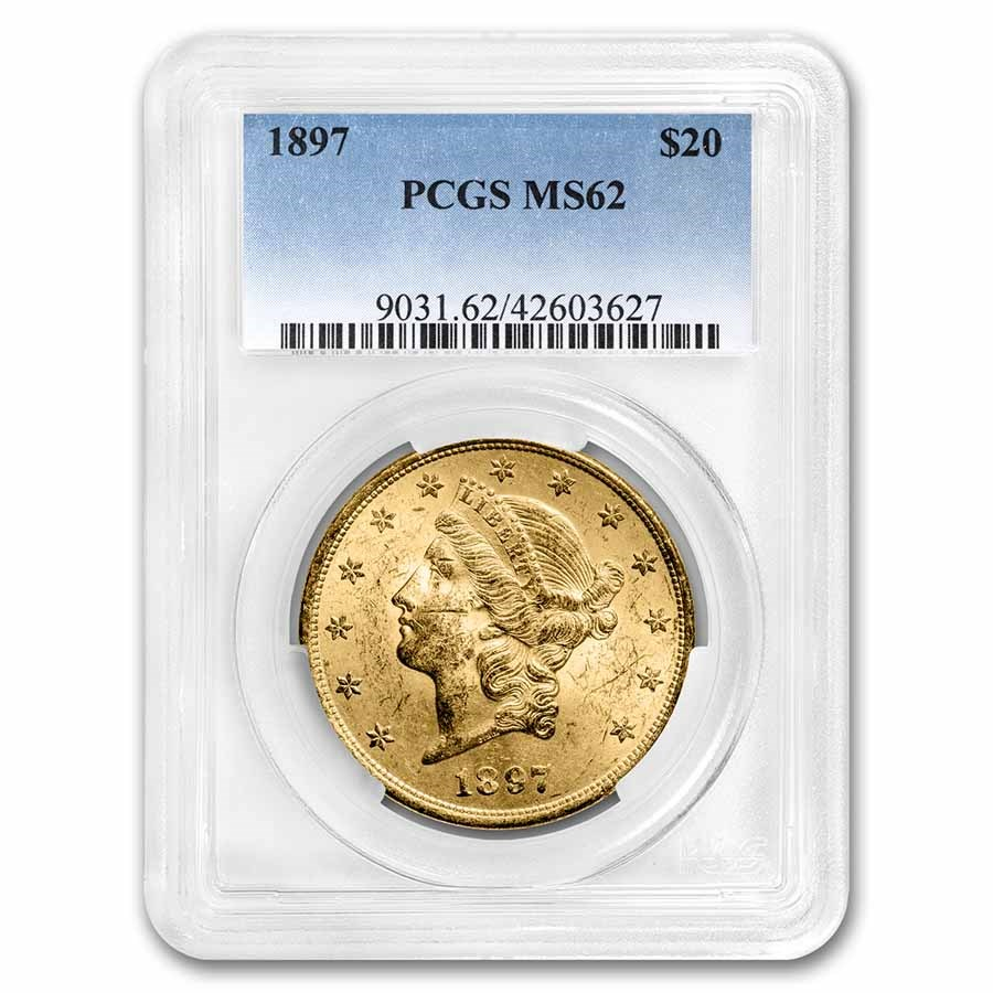 1897 $20 Liberty Gold Double Eagle MS-62 PCGS