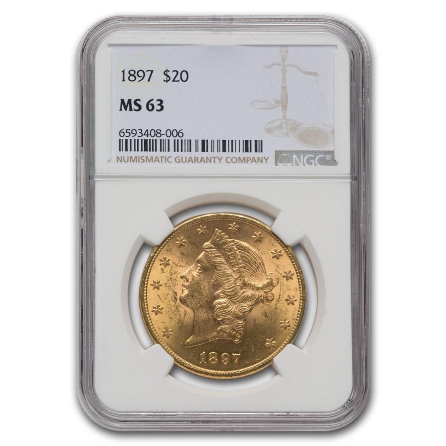 1897 $20 Liberty Gold Double Eagle MS-63 NGC
