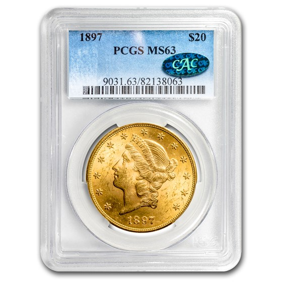 1897 $20 Liberty Gold Double Eagle MS-63 PCGS (CAC)