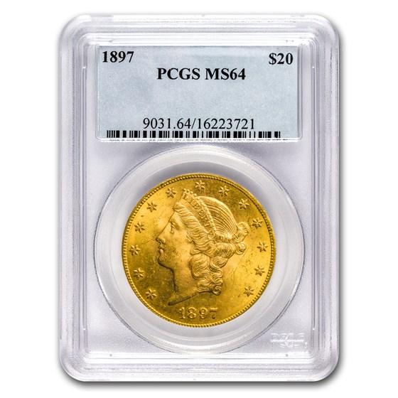 1897 $20 Liberty Gold Double Eagle MS-64 PCGS