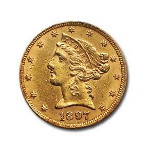 1897 $5 Liberty Gold Half Eagle AU