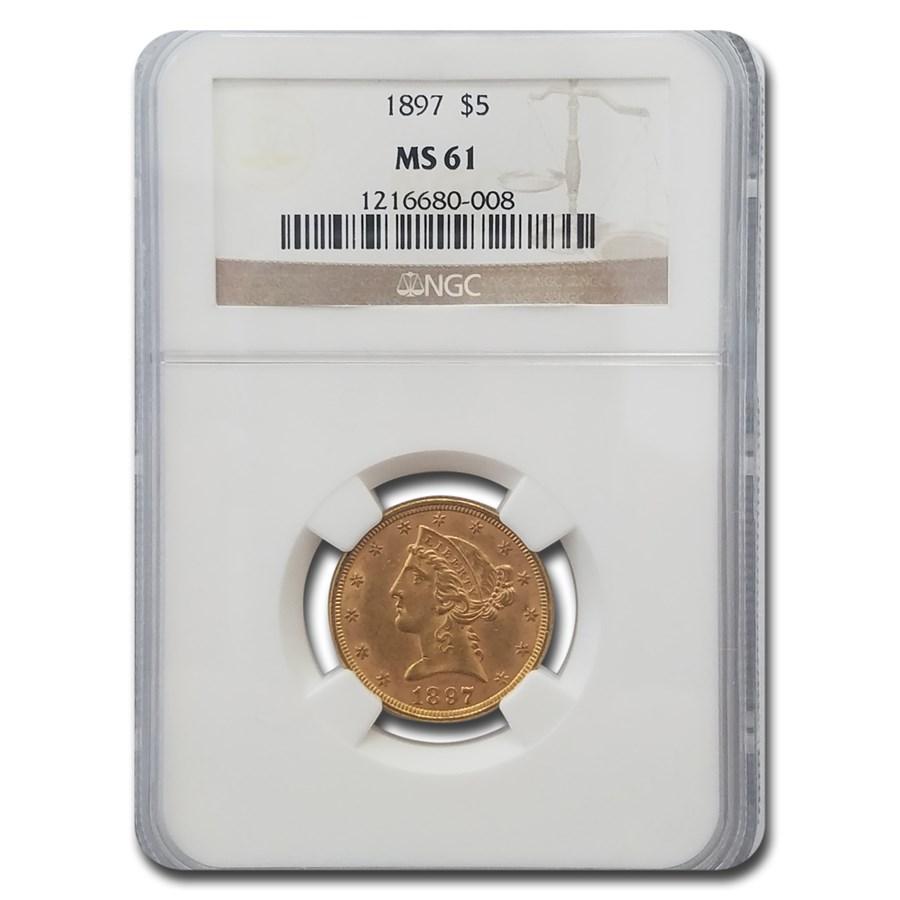 1897 $5 Liberty Gold Half Eagle MS-61 NGC