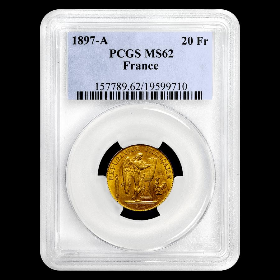 1897-A France Gold 20 Francs Angel MS-62 PCGS