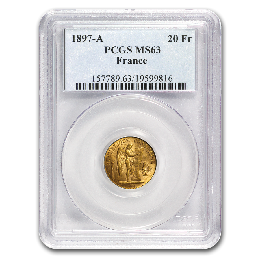 1897-A France Gold 20 Francs Angel MS-63 PCGS