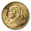 1897-B Swiss Gold 20 Francs Helvetia BU