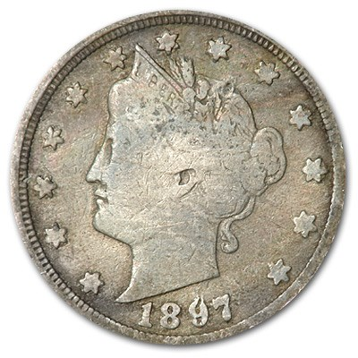 1897 Liberty Head V Nickel Good+