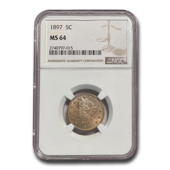1897 Liberty Head V Nickel MS-64 NGC