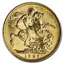1897-M Australia Gold Sovereign Victoria Veiled Head BU