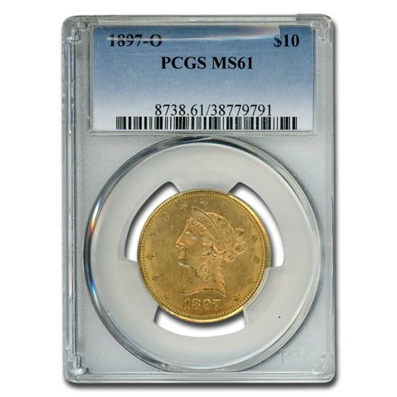 1897-O $10 Liberty Gold Eagle MS-61 PCGS