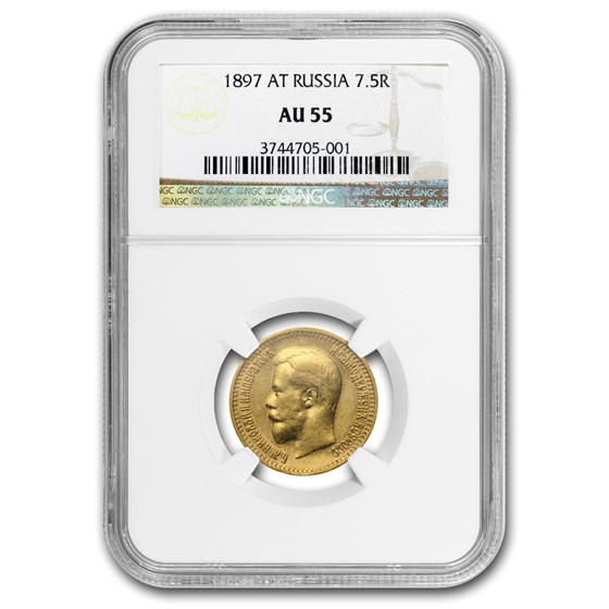 1897 Russia Gold 7 Roubles/50 Kopeks Nicholas II AU-55 NGC
