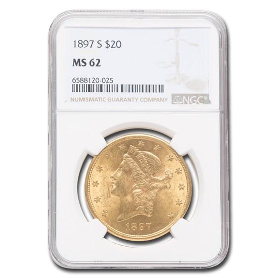 1897-S $20 Liberty Gold Double Eagle MS-62 NGC