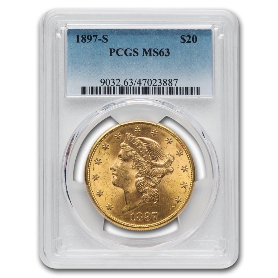 1897-S $20 Liberty Gold Double Eagle MS-63 PCGS