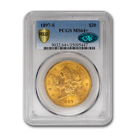 1897-S $20 Liberty Gold Double Eagle MS-64+ PCGS CAC