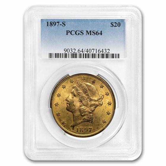 1897-S $20 Liberty Gold Double Eagle MS-64 PCGS