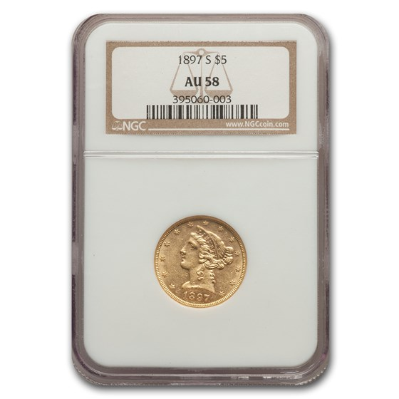 1897-S $5 Liberty Gold Half Eagle AU-58 NGC