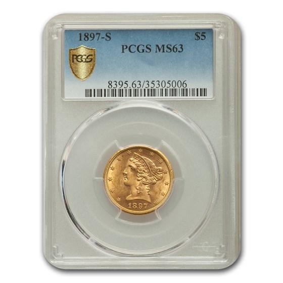 1897-S $5 Liberty Gold Half Eagle MS-63 PCGS