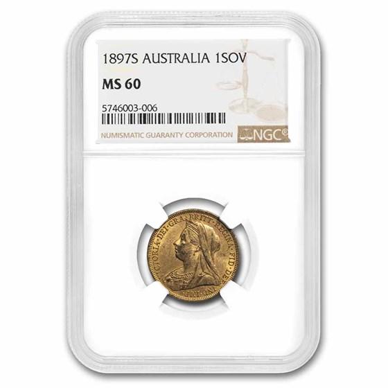 1897-S Australia Gold Sovereign Veil Head Victoria MS-60 NGC