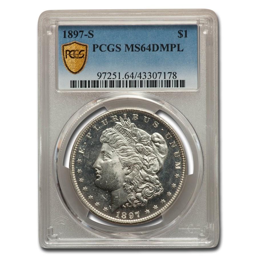 1897-S Morgan Dollar MS-64 DMPL PCGS