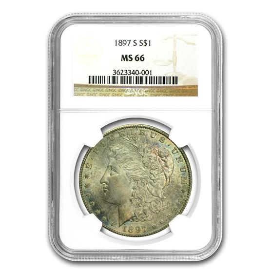 1897-S Morgan Dollar MS-66 NGC (Attractive Blue Toning)