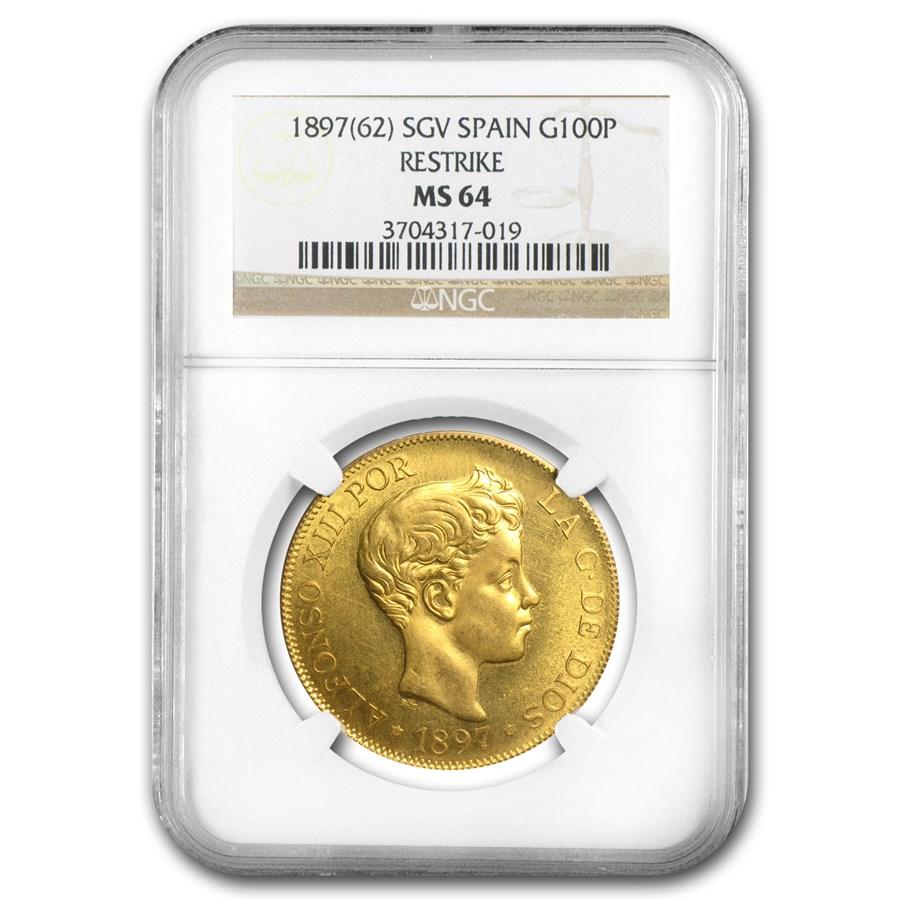 1897 Spain Gold 100 Pesetas Alfonso XIII MS-64 NGC