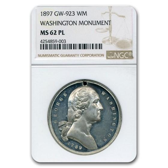 1897 Washington Monument Medal MS-62 NGC PL (White Metal)