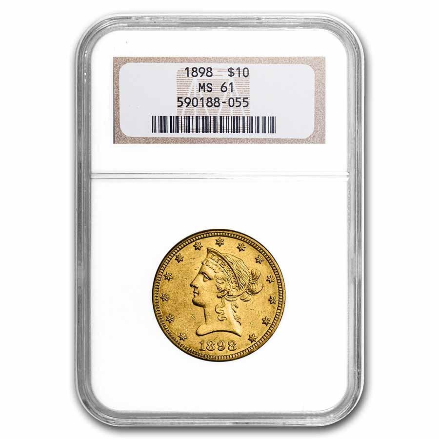1898 $10 Liberty Gold Eagle MS-61 NGC