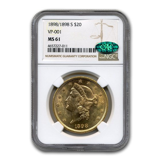 1898/1898-S $20 Liberty Gold Double Eagle MS-61 NGC CAC (VP-001)