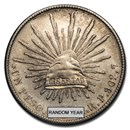 1898-1909 Silver Mexican 1 Peso Cap & Rays AU (Cleaned)