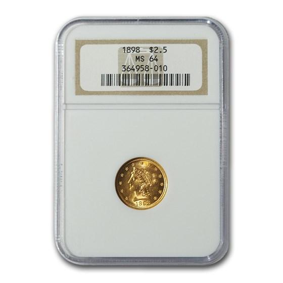 1898 $2.50 Liberty Gold Quarter Eagle MS-64 NGC