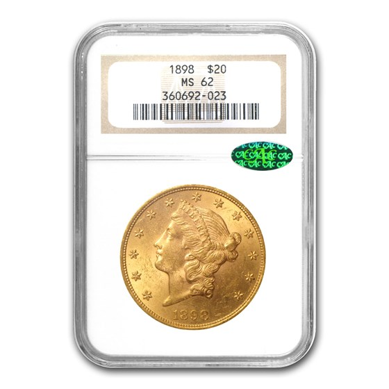1898 $20 Liberty Gold Double Eagle MS-62 NGC (CAC)