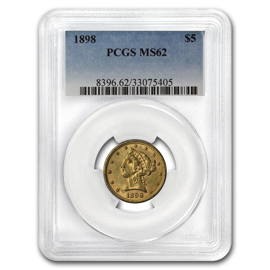 1898 $5 Liberty Gold Half Eagle MS-62 PCGS