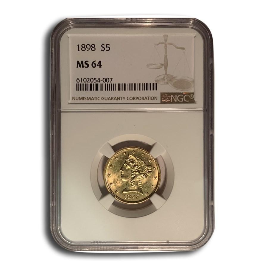 1898 $5 Liberty Gold Half Eagle MS-64 NGC