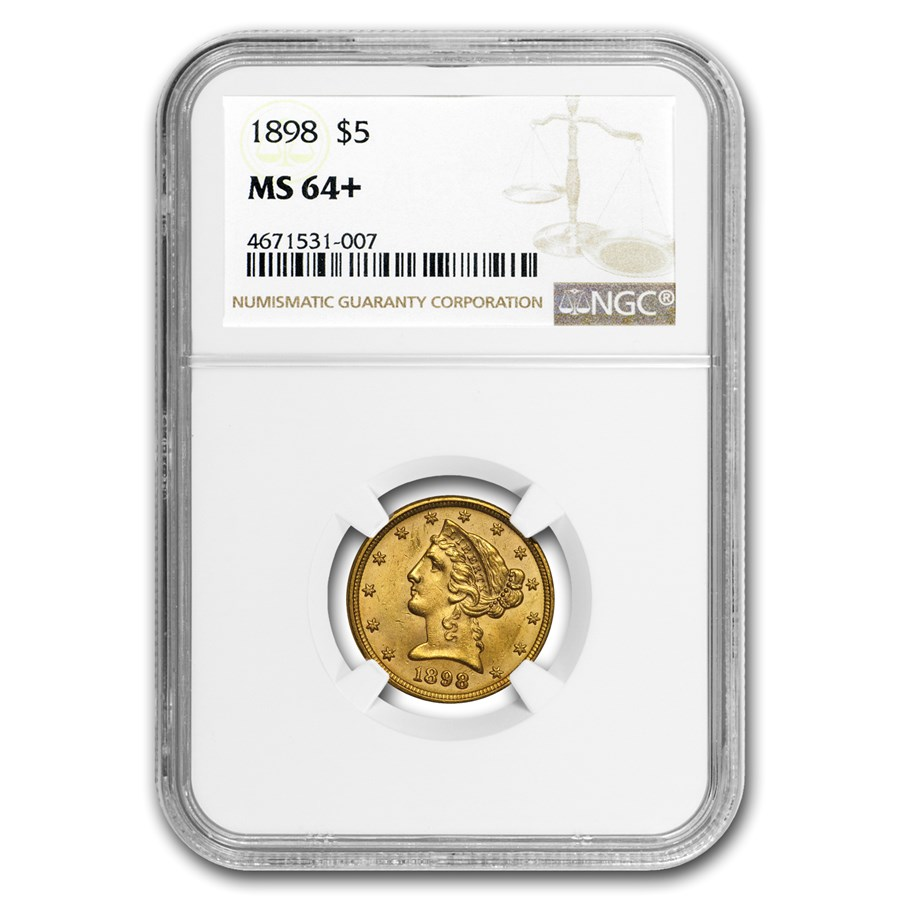 1898 $5 Liberty Gold Half Eagle MS-64+ NGC