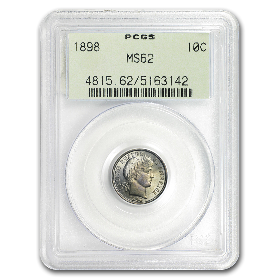 1898 Barber Dime MS-62 PCGS (OGH)