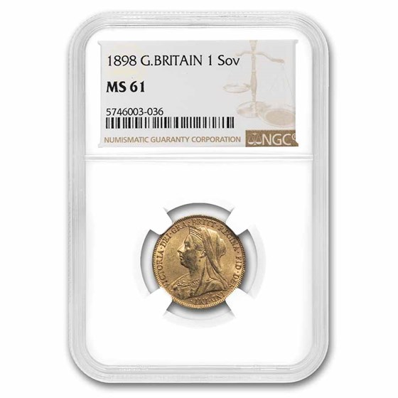 1898 Great Britain Gold Sovereign Victoria Veil Head MS-61 NGC